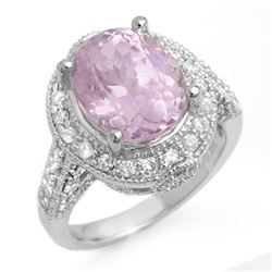 7.0 CTW Kunzite & Diamond Ring 14K White Gold - REF-128X2R - 11071