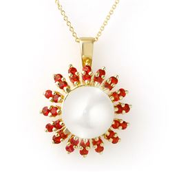 1.50 CTW Red Sapphire & Pearl Necklace 10K Yellow Gold - REF-40M2F - 11741