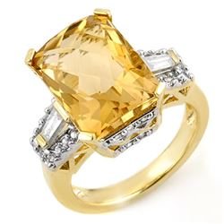 9.55 CTW Citrine & Diamond Ring 10K Yellow Gold - REF-73V8Y - 11565