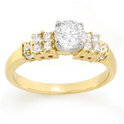 1.0 CTW Certified VS/SI Diamond Ring 14K 2-Tone Gold - REF-137M6F - 11626