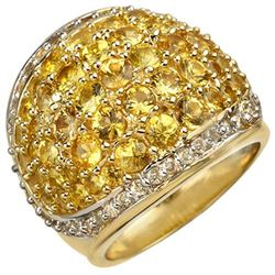 5.75 CTW Yellow Sapphire & Diamond Ring 14K Yellow Gold - REF-142M2F - 10806