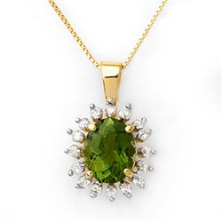3.55 CTW Green Tourmaline & Diamond Necklace 10K Yellow Gold - REF-73A6V - 10795