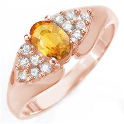 0.90 CTW Yellow Sapphire & Diamond Ring 14K Rose Gold - REF-43K6W - 10024