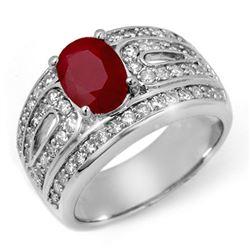 2.79 CTW Ruby & Diamond Ring 14K White Gold - REF-111W3H - 11827