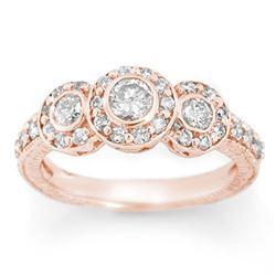 1.25 CTW Certified VS/SI Diamond Ring 14K Rose Gold - REF-99A3V - 11637
