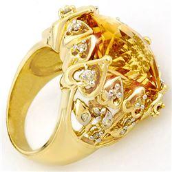 11.40 CTW Citrine & Diamond Ring 10K Yellow Gold - REF-80K9W - 10524