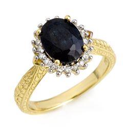 2.75 CTW Blue Sapphire & Diamond Ring 18K Yellow Gold - REF-69M3F - 12472