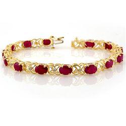 16.05 CTW Ruby & Diamond Bracelet 10K Yellow Gold - REF-63X3R - 10479