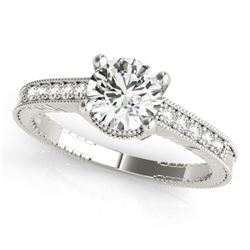 0.97 CTW Certified VS/SI Diamond Solitaire Antique Ring 18K White Gold - REF-202W2H - 27387
