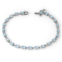 8.08 CTW Blue Topaz Bracelet 14K White Gold - REF-68X5R - 13687