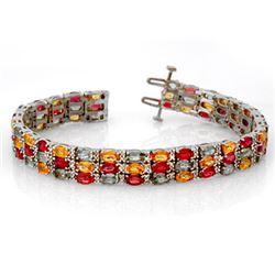 32.26 CTW Multi-Sapphire & Diamond Bracelet 14K White Gold - REF-407F8N - 11731