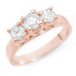 1.50 CTW Certified VS/SI Diamond 3 Stone Ring 14K Rose Gold - REF-204X4R - 10947