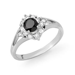 0.85 CTW VS Certified Black & White Diamond Ring 18K White Gold - REF-56X9R - 11839