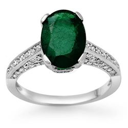 3.25 CTW Emerald & Diamond Ring 10K White Gold - REF-70N9A - 11883