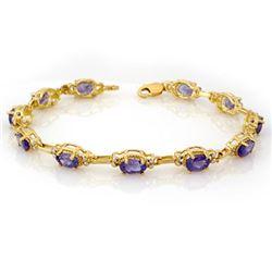8.0 CTW Tanzanite Bracelet 10K Yellow Gold - REF-81M8F - 10103