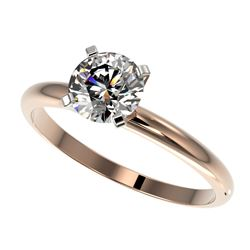 1.06 CTW Certified H-SI/I Quality Diamond Solitaire Engagement Ring 10K Rose Gold - REF-216A4V - 364