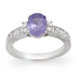 1.82 CTW Tanzanite & Diamond Ring 14K White Gold - REF-62R2K - 14251