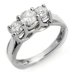 1.35 CTW Certified VS/SI Diamond Ring 14K White Gold - REF-162A4V - 10152