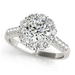 2 CTW Certified VS/SI Diamond Solitaire Halo Ring 18K White Gold - REF-410M2F - 26287