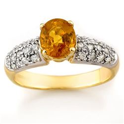 2.0 CTW Yellow Sapphire & Diamond Ring 10K Yellow Gold - REF-52Y7X - 10846