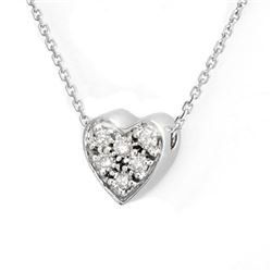 0.20 CTW Certified VS/SI Diamond Necklace 18K White Gold - REF-38N2A - 10078
