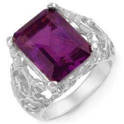 8.03 CTW Amethyst & Diamond Ring 10K White Gold - REF-42R9K - 10915