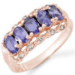 1.80 CTW Tanzanite & Diamond Ring 14K Rose Gold - REF-43V6Y - 10678