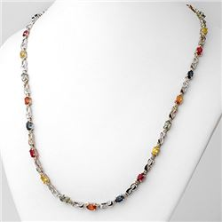 9.02 CTW Multi-Sapphire & Diamond Necklace 18K White Gold - REF-163N6A - 11202