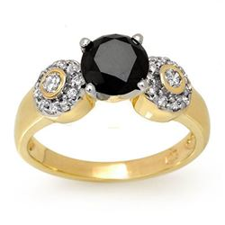 1.90 CTW VS Certified Black & White Diamond Ring 14K Yellow Gold - REF-81V3Y - 11861