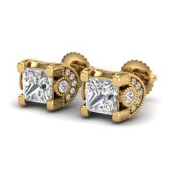 2.5 CTW Princess VS/SI Diamond Art Deco Stud Earrings 18K Yellow Gold - REF-642R2K - 37153