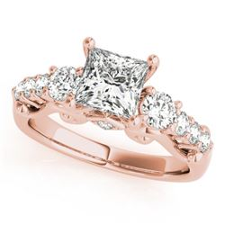 1.75 CTW Certified VS/SI Diamond 3 Stone Princess Cut Ring 18K Rose Gold - REF-447H8M - 27997
