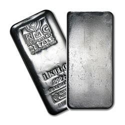 One piece 1 kilo 0.999 Fine Silver Bar Republic Metals Corporation-89402