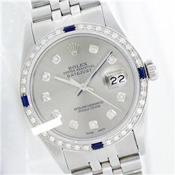 Rolex Men's Stainless Steel, QuickSet, Diam Dial & Diam/Sapphire Bezel - REF-521F7M
