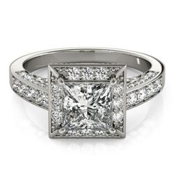2.1 CTW Certified VS/SI Princess Diamond Solitaire Halo Ring 18K White Gold - REF-309H6M - 27171