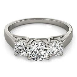 1.50 CTW Certified VS/SI Diamond 3 Stone Ring 18K White Gold - REF-267K3W - 28056