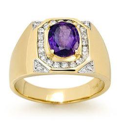 3.10 CTW Tanzanite & Diamond Men's Ring 14K Yellow Gold - REF-119V5Y - 13480
