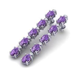 10.36 CTW Amethyst & VS/SI Certified Diamond Tennis Earrings 10K White Gold - REF-58V2Y - 29385