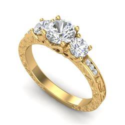 1.41 CTW VS/SI Diamond Solitaire Art Deco 3 Stone Ring 18K Yellow Gold - REF-263A6V - 37009
