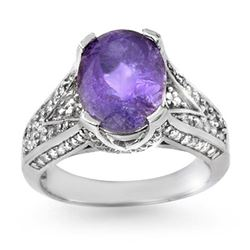4.70 CTW Tanzanite & Diamond Ring 18K White Gold - REF-172R2K - 14271