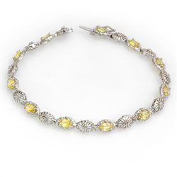 3.42 CTW Yellow Sapphire & Diamond Bracelet 10K White Gold - REF-70W2H - 13584