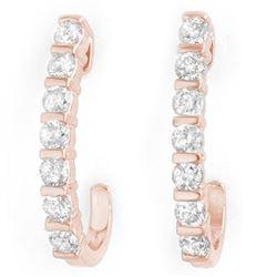 0.75 CTW Certified VS/SI Diamond Earrings 18K Rose Gold - REF-78A5V - 13999