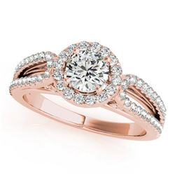 0.90 CTW Certified VS/SI Diamond Solitaire Halo Ring 18K Rose Gold - REF-134K5W - 26423