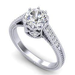 1.25 CTW VS/SI Diamond Art Deco Ring 18K White Gold - REF-400F2N - 36905