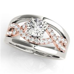 1.30 CTW Certified VS/SI Diamond Solitaire Ring 18K White & Rose Gold - REF-414Y2X - 27920