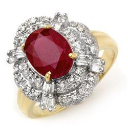 2.84 CTW Ruby & Diamond Ring 14K Yellow Gold - REF-70N9A - 12949