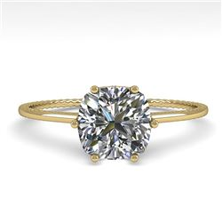 1.0 CTW VS/SI Cushion Diamond Solitaire Engagement Ring Size 7 18K Yellow Gold - REF-287R4K - 35899