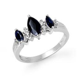 1.0 CTW Blue Sapphire & Diamond Ring 18K White Gold - REF-37H3M - 12896