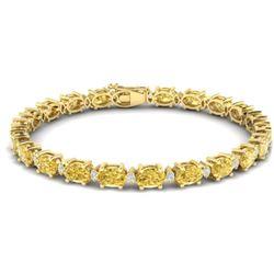 25.8 CTW Citrine & VS/SI Certified Diamond Eternity Bracelet 10K Yellow Gold - REF-118H4M - 29449