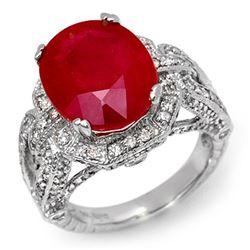 10.50 CTW Ruby & Diamond Ring 14K White Gold - REF-162V4Y - 11899