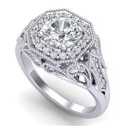 1.75 CTW VS/SI Diamond Solitaire Art Deco Ring 18K White Gold - REF-436V4Y - 37319